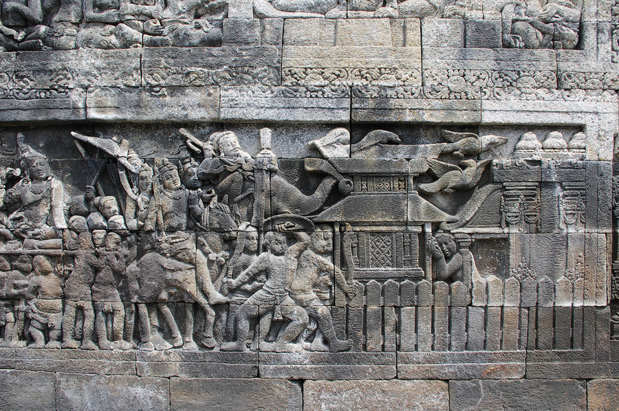 the relief of borobudur wall