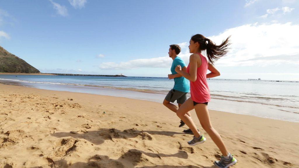 Jogging while enjoying the amazing beach view