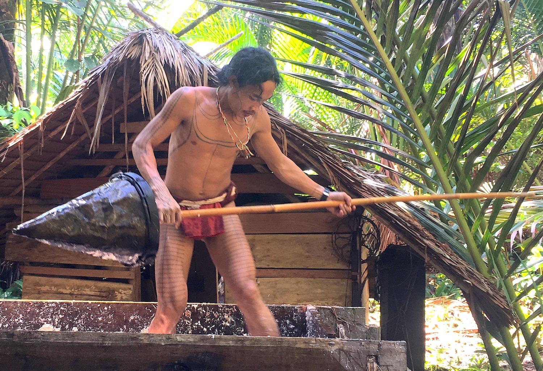 Sago Processing by man in siberut village