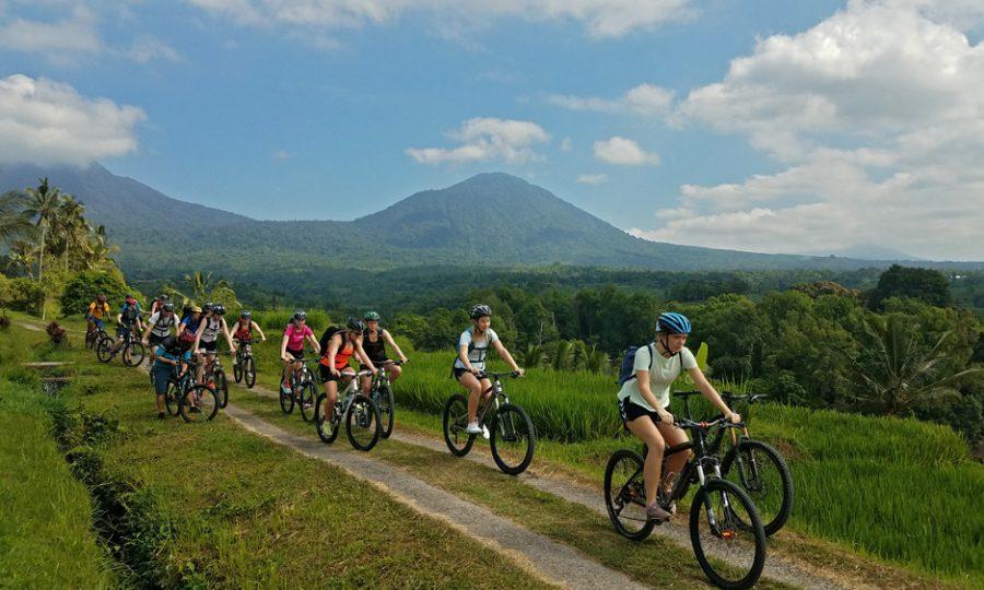 Cycling through Bali rural landscape