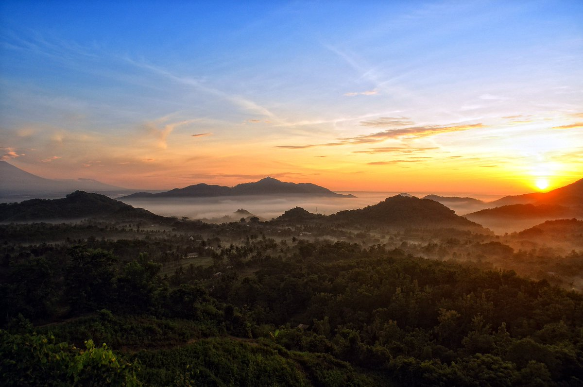 beautiful sunrise view from bukit batu idung