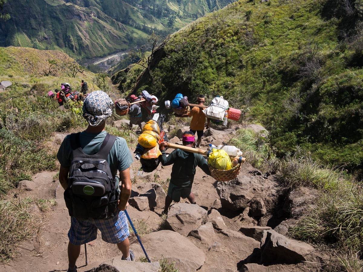 rough route for rinjani trekking