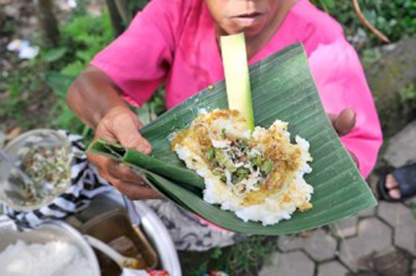 Tepeng rice is a traditional Balinese food from Gianyar region