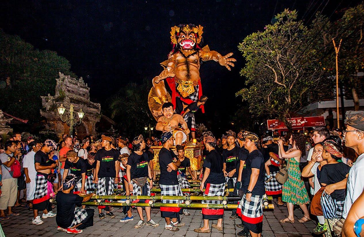 ogoh ogoh parade during the pengerupukan day