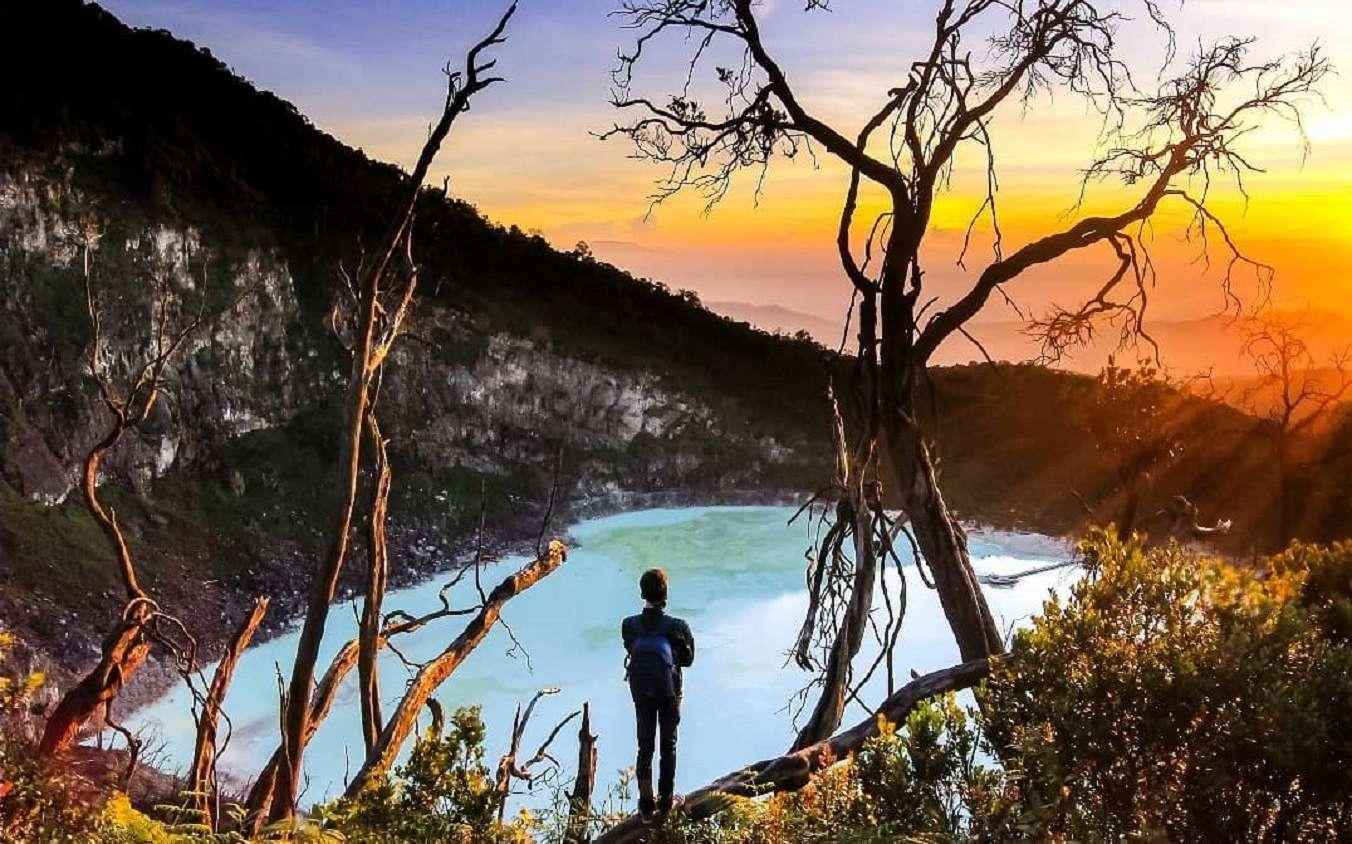the scenery of kawah putih bandung from above