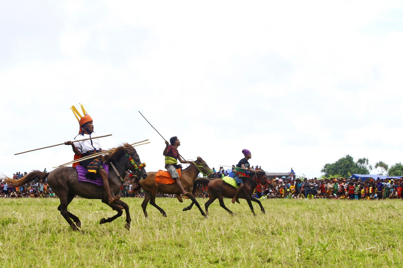 Pasola is a traditional war game between two groups of equestrian 'troops' who throw javelins