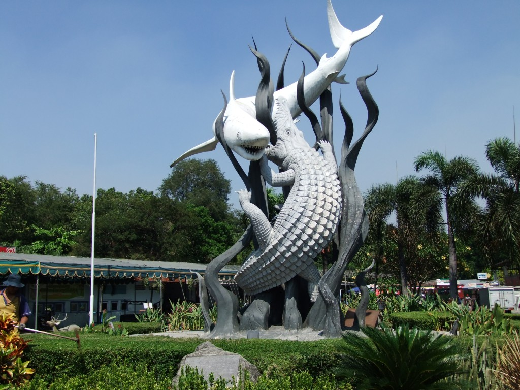 The Shark and Crocodile statue in surabaya