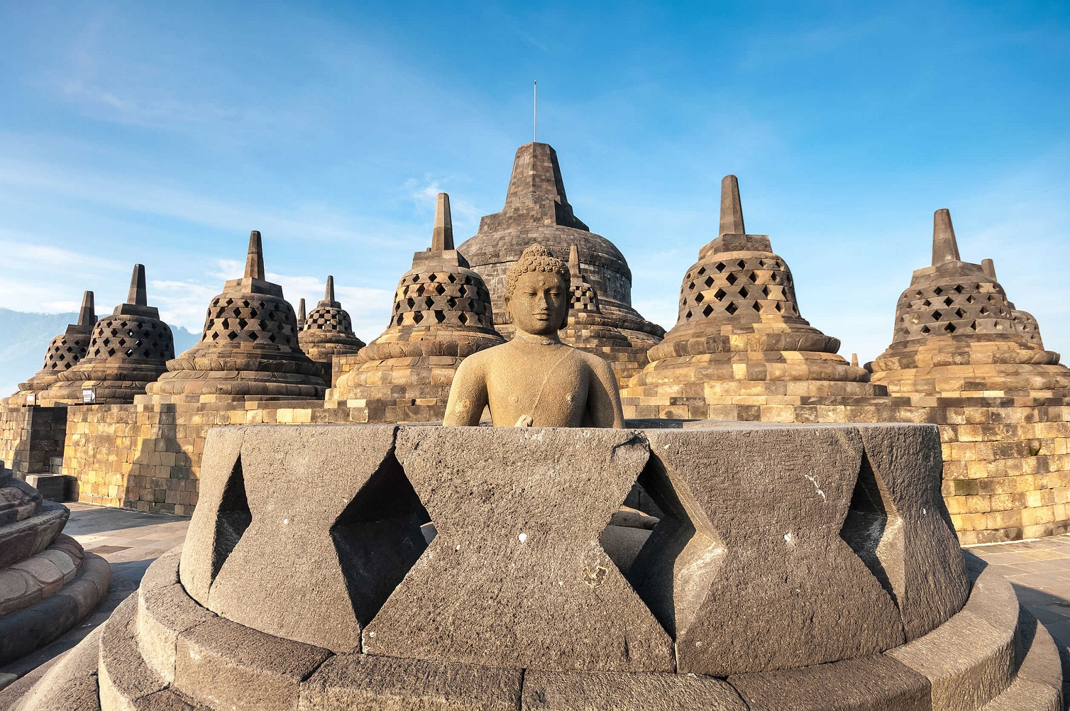 the iconic Borobudur Temple located in Magelang